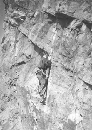 Hugh Banner on 'DesperationÙ Avon Gorge 1953.